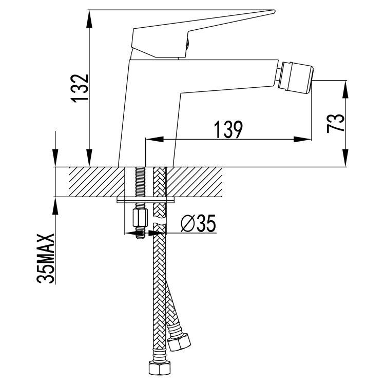 ORLANDO змішувач для биде, хром, 35 мм - 2