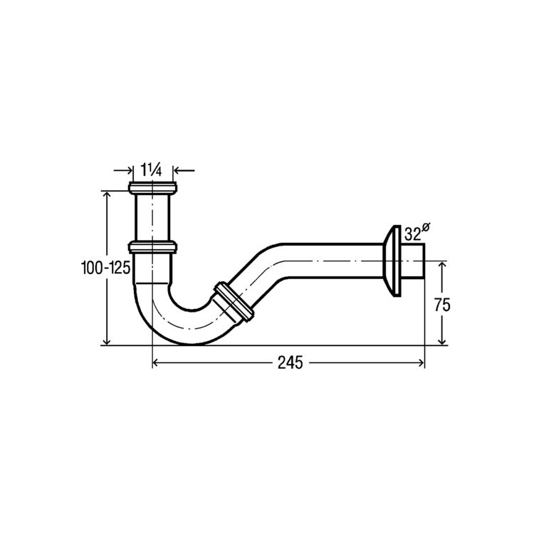 Сифон трубний для біде 1 1/4, хром (103781) - 2