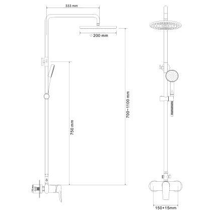 VELUM система душова (змішувач для душу, верхній та ручний душ) - 2