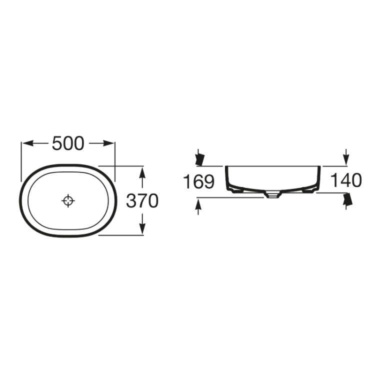 INSPIRA Round умывальник 500*370*140мм, круглый, накладной, без отв. под смеситель, без перелива - 2