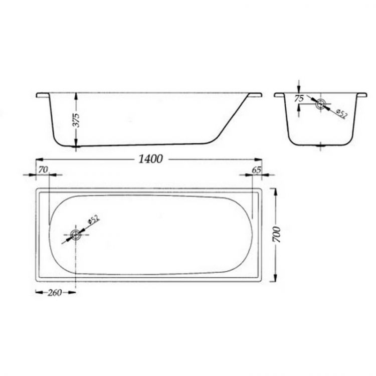Ванна стальная АКВАРТ 140х70 без ног - 2
