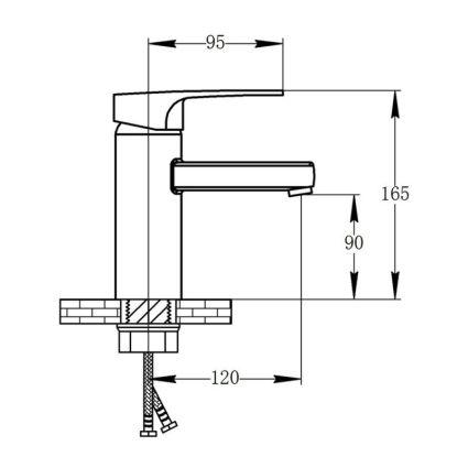 Змішувач для умивальника Potato P1030-6 чорний гайка - 2