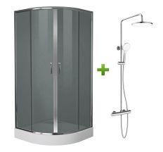 Комплект: BALATON душова кабіна 90*90*200см, акриловий піддон 15см + CENTRUM система душова змішувач-термостат для душу (Т-15510)