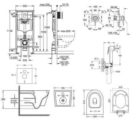 Комплект інсталяція Grohe Rapid SL 38772001 + унітаз з сидінням Qtap Swan QT16335178W + набір для гігієнічного душу зі змішувачем Grohe BauClassic 2904800S - 2