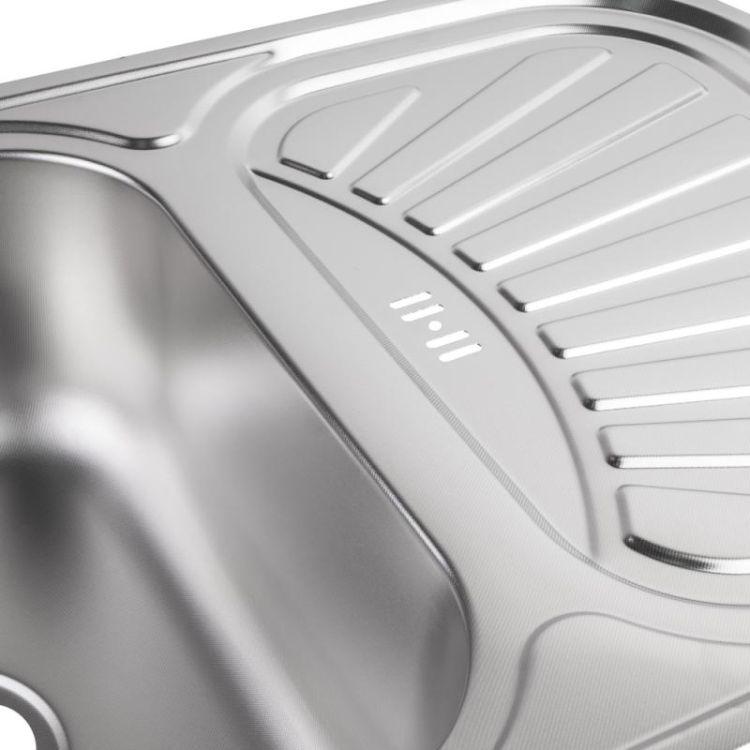 Кухонна мийка Lidz 7549 Satin 0,8 мм (LIDZ7549SAT8) - 5