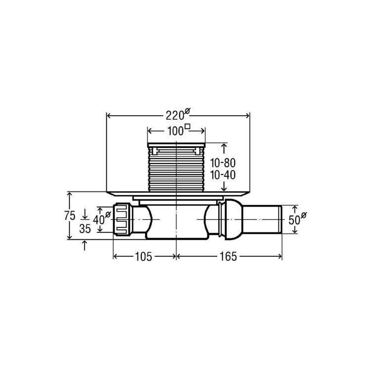 Трап Advantix для ванної, сухий затвор, горизонтальний D50 (583217) - 2