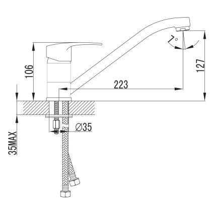 JESENIK змішувач для кухні, хром, 35 мм IMPRESE 20140 - 2