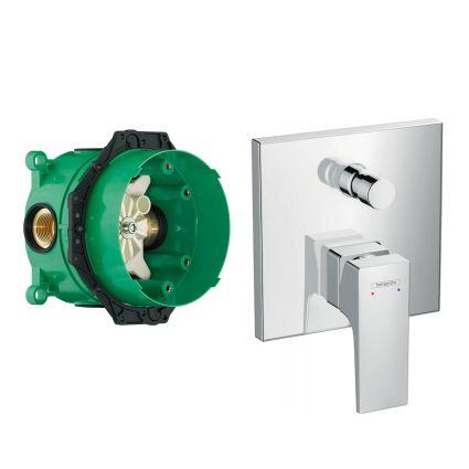 METROPOL смеситель для ванны, однорычажный, внешняя часть, на 2 потребителя + IBOX universal скрытая часть для смесителя (в подарок) - 1