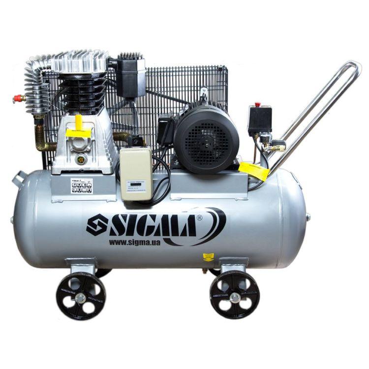Компрессор ременной двухцилиндровый 380В 4кВт 678л/мин 10бар 100л Sigma (7044521) - 1