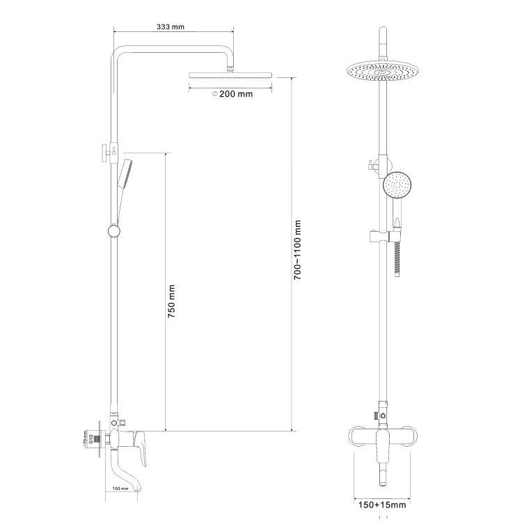 VELUM система душевая (смеситель для ванны, верхний и ручной душ) - 2