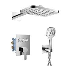 SMART CLICK система душова прихованого монтажу (змішувач для душу, верхній душ 312*218 мм латунь 2 режими, ручний душ 3 режими, шланг, тримач), хром
