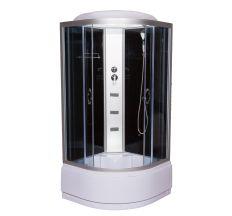 95 RC 900*900*2150 мм, глубокий поддон (48 см), стекло серое (4мм), профиль сатин, тропич душ