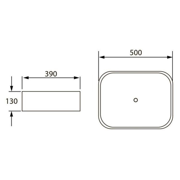 VOLLE умивальник 500*390*130мм, накладної - 2