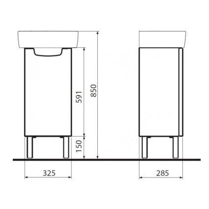 REKORD шкафчик под умывальник 31*59,1*26,2см, белый глянец (пол) - 2