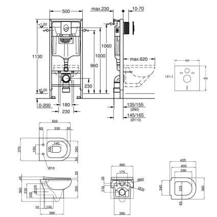 Набір інсталяція 4 в 1 Grohe Rapid SL 38721001 + унітаз з сидінням Qtap Lark QT0331159W - 2