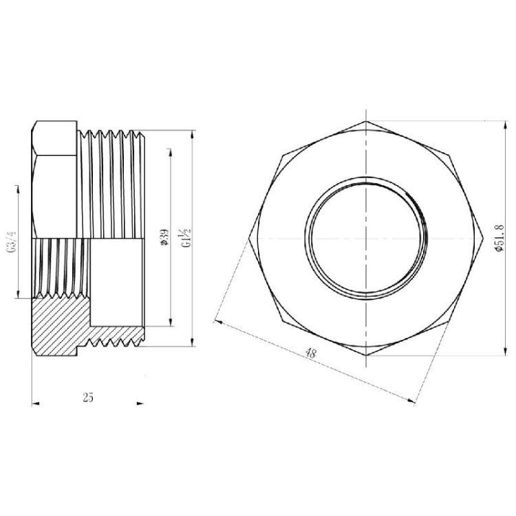 Футорка Forte 1 1/2Нх3/4В - 2