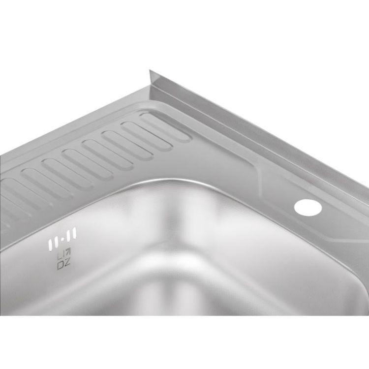 Кухонна мийка Lidz 6060-R Decor 0,8 мм (LIDZ6060RDEC08) - 6