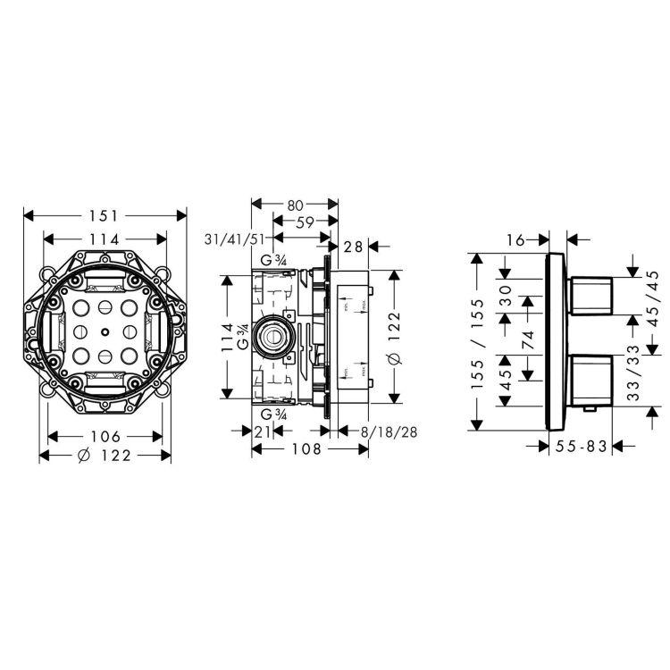 ECOSTAT E термостат з запірним/перемикаючим вентилем + прихована частина IBOX universal для змішувача (в подарунок) - 2