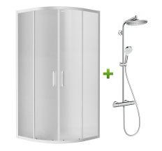 Комплект: TISZA душова кабіна 90*90*185 см (599-021/1) + CROMETTA S 240 1jet Showerpipe (27267000)