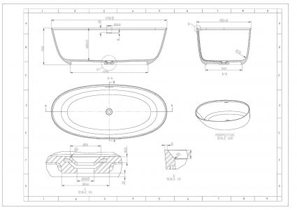 Ванна отдельностоящая каменная 170*80*54см, с переливом и донным клапаном - 2