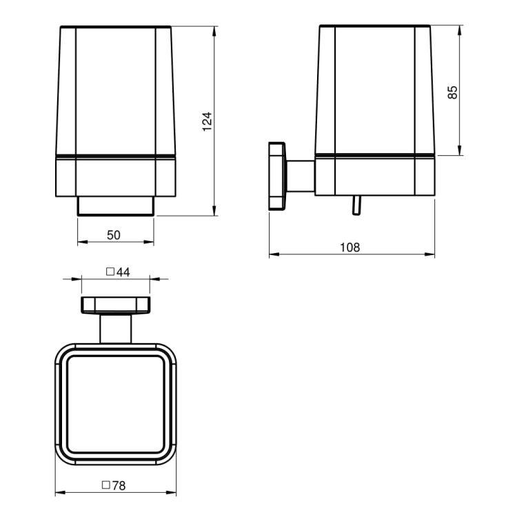 TEO диспенсер з нижнім натиском, матове скло, кріплення до стіни, хром - 2