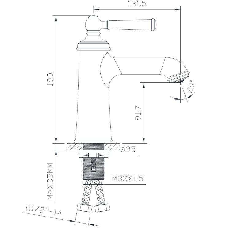 HYDRANT смеситель для раковины, 35 мм - 2