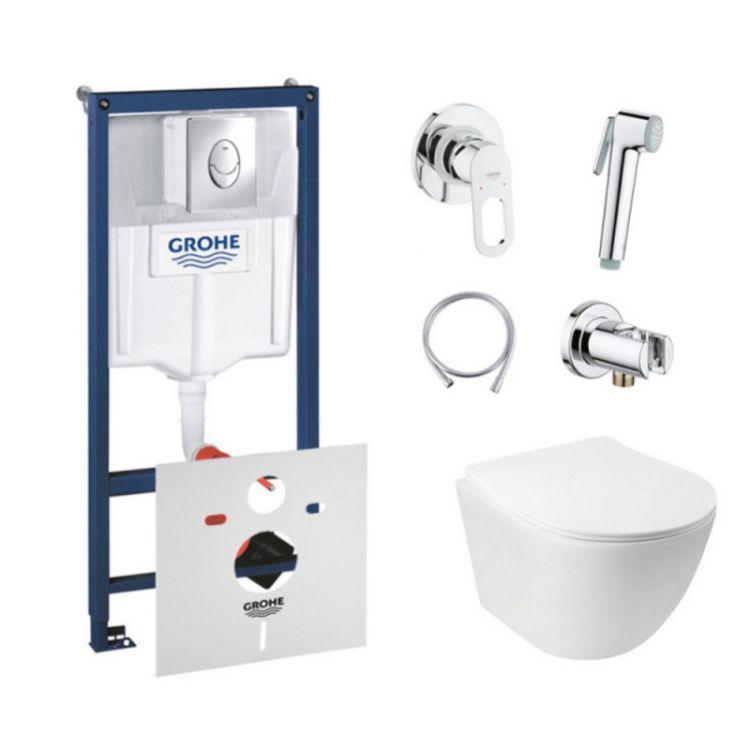 Комплект інсталяція Grohe Rapid SL 38721001 + унітаз з сидінням Qtap Jay QT07335176W + набір для гігієнічного душу зі змішувачем Grohe BauLoop 111042 - 1