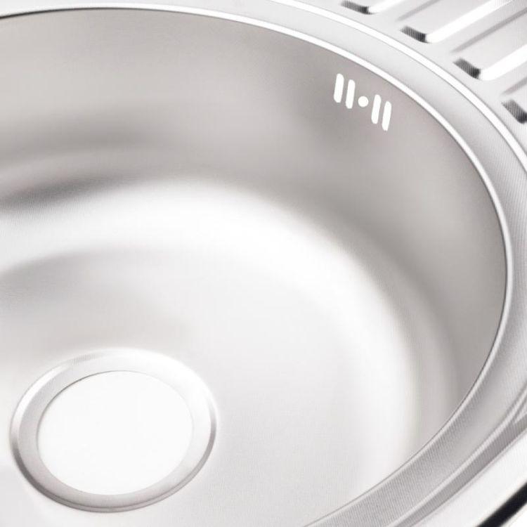 Кухонна мийка Lidz 7750 dekor 0,8 мм (LIDZ7750MDEC) - 6