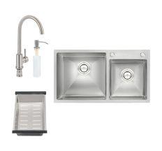 Набір 4 в 1 Qtap S7843 Set кухонна мийка Satin + змішувач для кухні + сушка + дозатор для рідкого мила