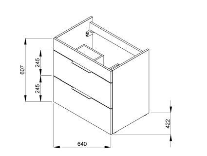 SUIT тумба 640*422*620мм, з раковиною з 1-м отв. під суміш пов. посередині, підвісна, білий глянець - 2