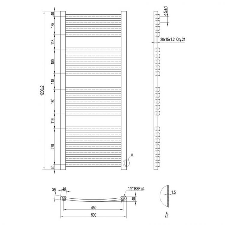 Рушникосушарка водяна Qtap Dias (SIL) P21 1200x500 HY - 2