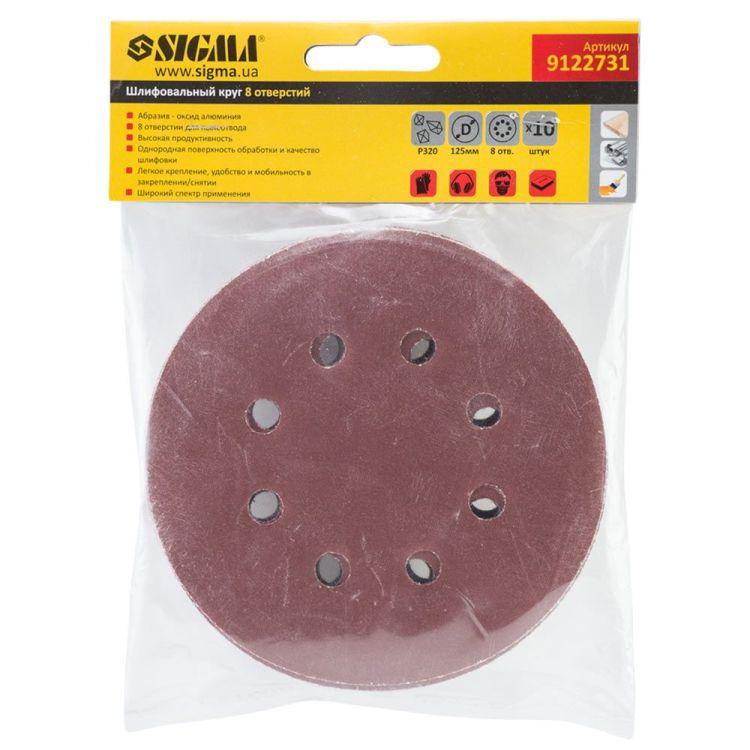 Шлифовальный круг 8 отверстий Ø125мм P320 (10шт) Sigma (9122731) - 5