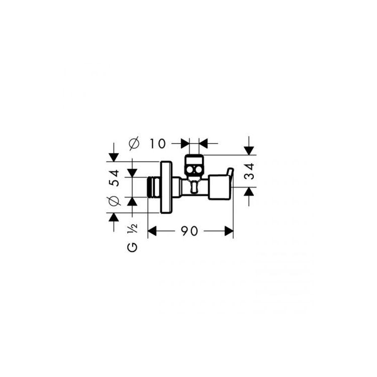 Hansgrohe Вентиль кутовий S, ½' , хром - 2