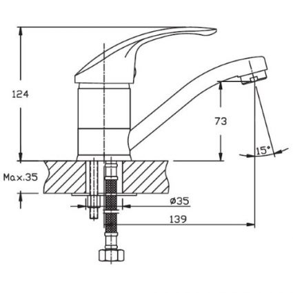 Змішувач для умивальника HAIBA Mars 004-15см - 2