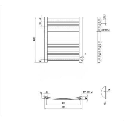 Рушникосушарка водяна Q-tap Dias (SIL) P12 600x500 HY - 2