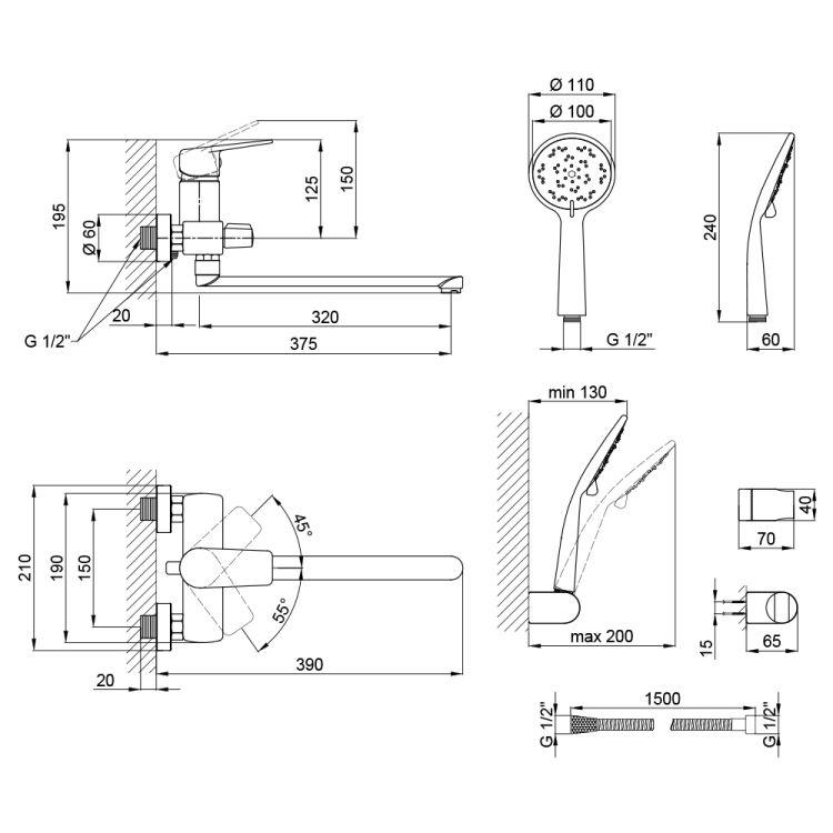 Змішувач для ванни Q-tap Jody 005 New CRM - 3