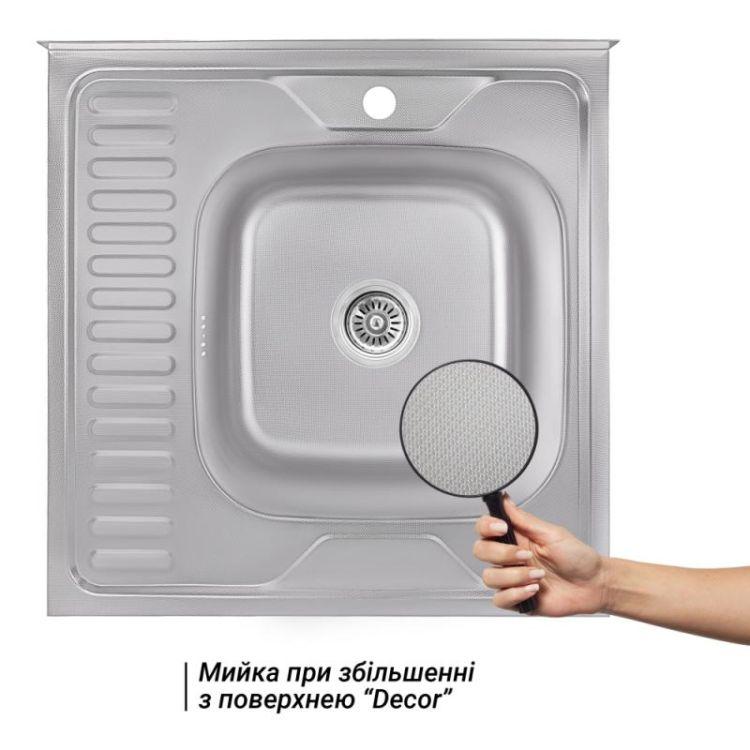 Кухонна мийка Lidz 6060-R Decor 0,8 мм (LIDZ6060RDEC08) - 3