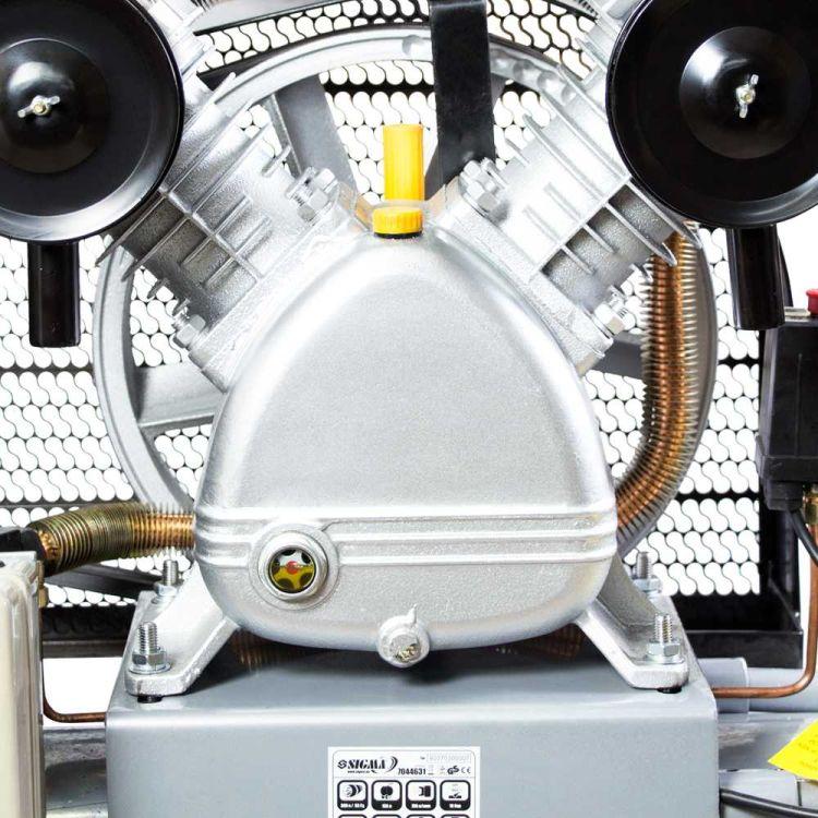 Компрессор ременной двухцилиндровый 380В 4кВт 700л/мин 10бар 150л Sigma (7044631) - 5