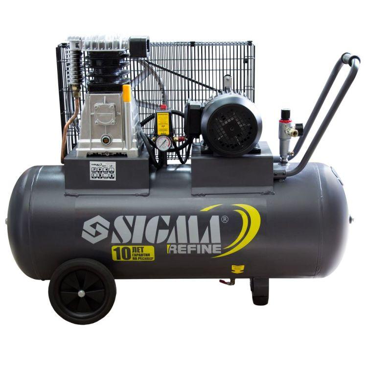 Компрессор ременной двухцилиндровый 380В 2.2кВт 508л/мин 10бар 100л Sigma Refine (7044211) - 1