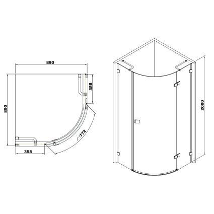 De la Noche Душова кабіна кутова 900*900*2000мм (скла+двері), права,орні, скло 8мм з Nano покриттям - 2