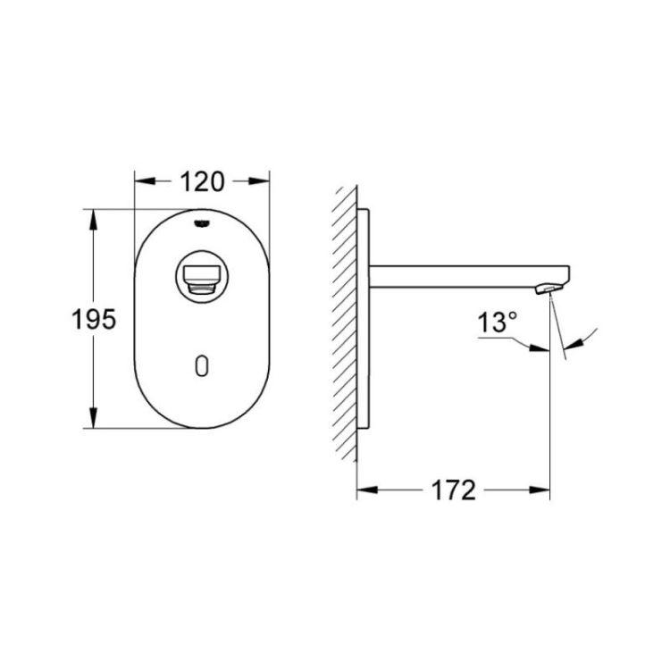 Змішувач для умивальника Grohe Euroeco Cosmopolitan E 36410000 Bluetooth безконтактний, прихованого монтажу - 2