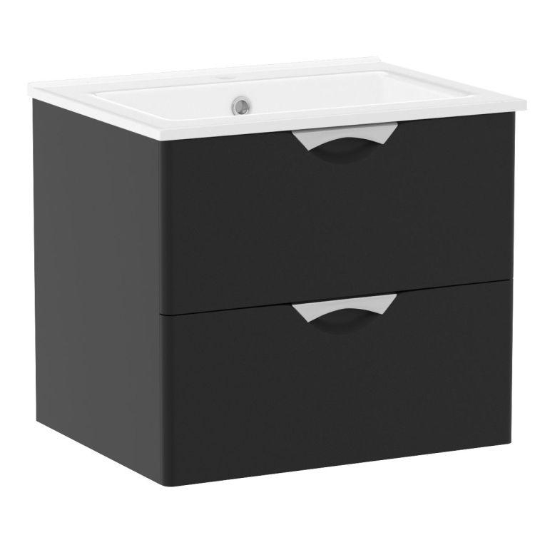 NOVA VLNA M комплект меблів 60см, чорний: тумба підвісна, 2 ящика + умивальник накладний арт i11052 - 1