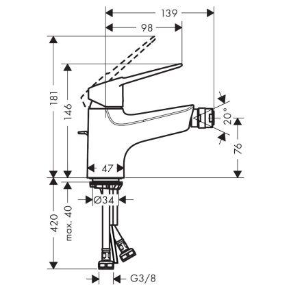 NOVUS LOOP змішувач для биде, хром - 2