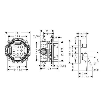METROPOL смеситель для ванны, однорычажный, внешняя часть, на 2 потребителя + IBOX universal скрытая часть для смесителя (в подарок) - 2