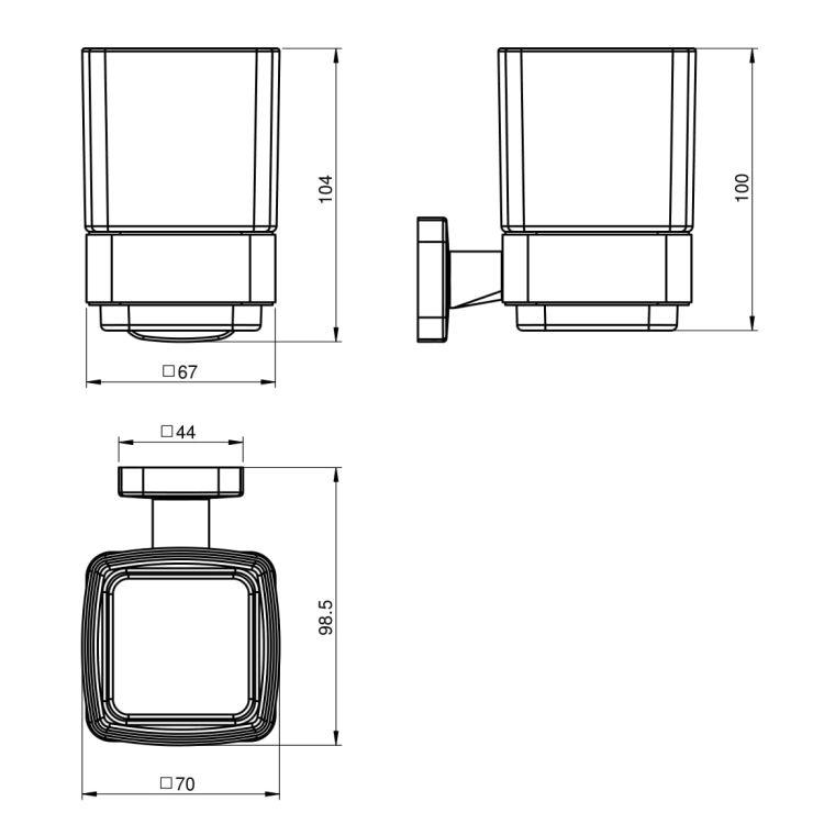 TEO склянку матове скло, кріплення до стіни, хром - 2
