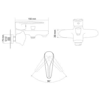 TULIP змішувач для ванни одноважільний, хром 35 мм - 2