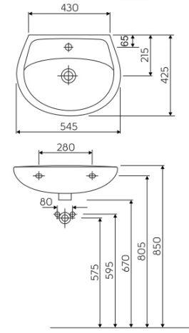IDOL умивальник з переливом з отвором 55*42 см (укр.) - 2