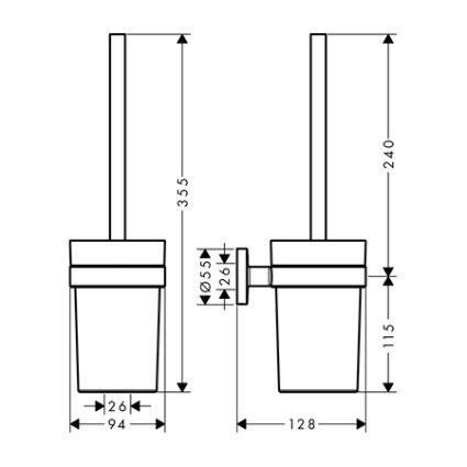 Logis Набір аксесуарів: гачок подвійний, тримач туалетного паперу, стакан, туалетна щітка (41725000+41723000+41718000+41722000) - 3
