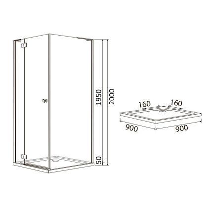 BENITA душова кабіна квадратна 900*900*2000мм, піддон (PUF) 5 см (з сифоном),ліва, орні, профіль хром, прозоре скло - 2
