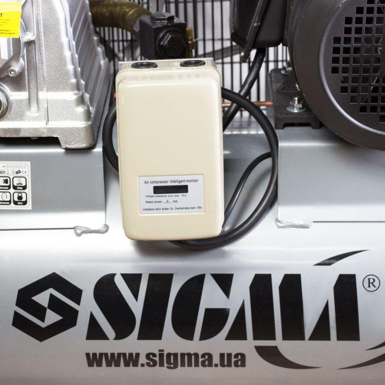 Компрессор ременной двухцилиндровый 380В 4кВт 678л/мин 10бар 100л Sigma (7044521) - 5